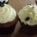 White and Black frosted cupcakes